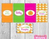 50% OFF Little Pumpkin Candy Bar Wrappers, Pumpkin Printable Mini Chocolate Bar Wrappers, Little Pumpkin Party Printables