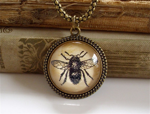 Bumble Bee Necklace - Antique Print Insect Pendant in Bronze or Silver - Queen Bee - Honey Bee