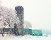 Winter Snow Vintage Barn Aquarmarine Teal Aqua White Silo Snowstorm White Gray Dreamy Winter Photograph, Fine Art Print