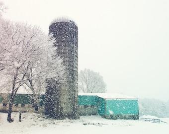 Winter Snow Photo, Barn Photo, Farmhouse Decor, Aquarmarine Teal Aqua White Silo Snowstorm, Snow Photo, Winter Photograph, Fine Art Print