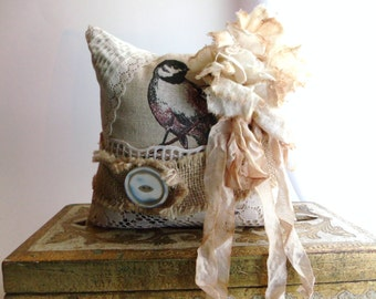 Upcycled Bird Pillow Shabby Chic Tattered Rose Burlap Vintage Lace Ribbon and Buttons One Of A Kind