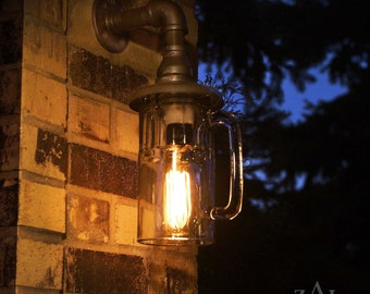 Sconce, Beer mug, Wall Light. Lamp. with vintage style Edison bulb. Weather resistant.