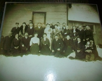Antique Photograph of a Victorian Group on a Farm 1800s 10 x 8