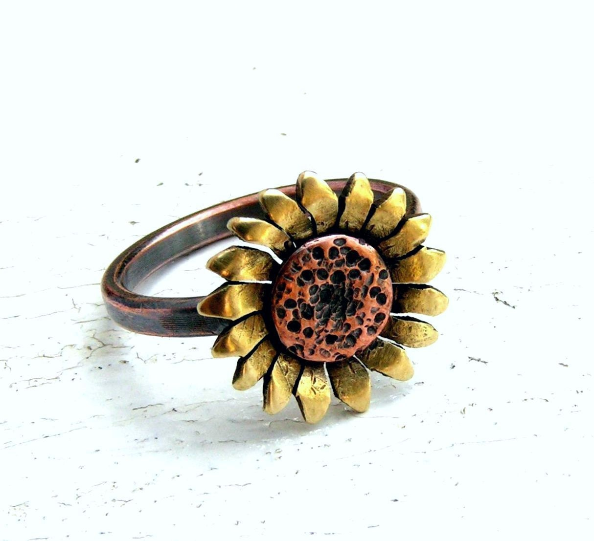 Sunflower Ring Copper And Brass Metalwork Made To By