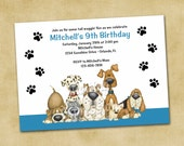 Puppy Dogs Blue Printable Birthday Invitation - Boy Party Invitations, DIY Digital Invites