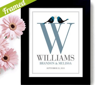 Unique Family Name Monogram Wedding Gift Love Birds Art Print Personalized Couples Engagement gift