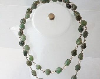 BLACK FRIDAY SALE long serpentine necklace, gemstone necklace, green necklace, serpentine stones