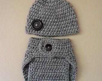 Diaper Covet And Hat, Crochet Diaper Cover Ser, Newborn Diaper Cover - Ready to Ship