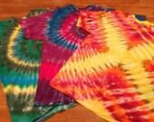 Set of 3 Tie Dye T-Shirts - XL, Light Weight shirts - 2 Spirals & X - 100% Cotton