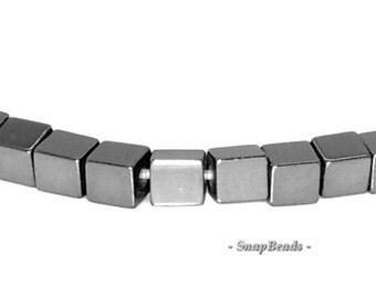 2mm Noir Black Hematite Gemstone Black Square Cube 2x2mm Loose Beads 16 inch Full Strand (90147102-336)
