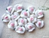 8 mm White Color Tiny Flat Back Porcelain Roses (.tm)