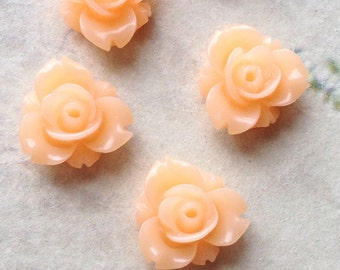 12 mm Peach Colour Resin Rose Flower Cabochons (.sm)