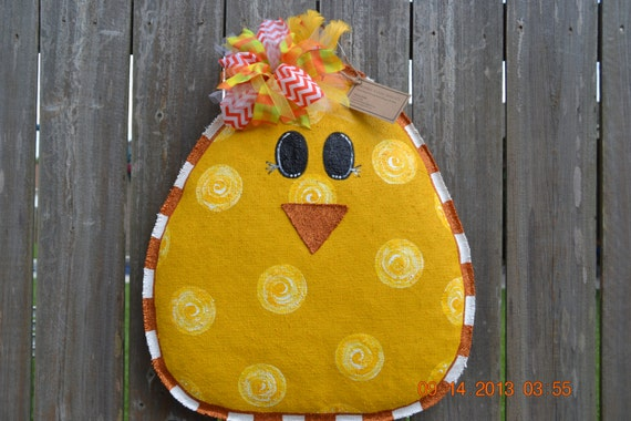Ready to ship - Easter CHICK Burlap Door Hanger