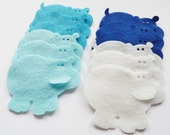 Felt Hippo Blue, set of 12 pieces