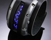 Fully Functioning Sci-fi Steampunk Watch - Black and silver with linear blue LED watch.