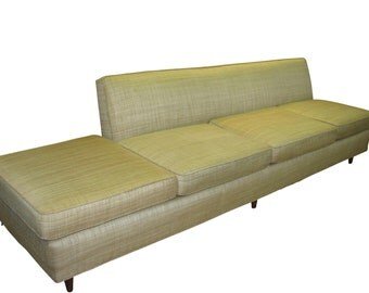 Mid Century Modern, danish, vintage upholstered 1950's floating sofa, couch