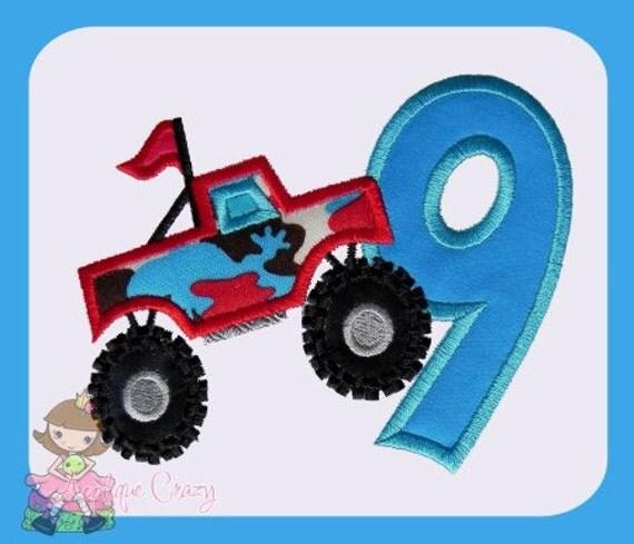 Monster truck Applique Number Nine design