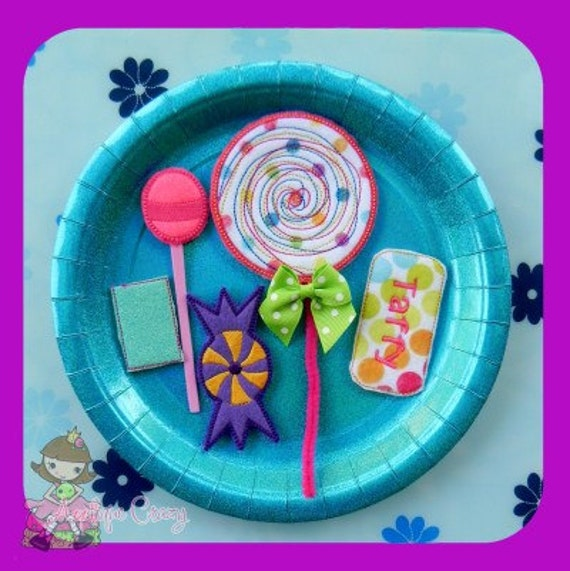 Candy play food set (in the hoop) embroidery file design