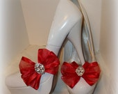 Shoe Clips, Bridal Shoe CLips, Wedding Shoe Clips, Chiffon Bow Shoe Clips, Many Colors, Womens Shoe Clips for wedding soes, bridal shoes