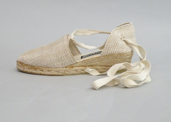 vintage beige ankle tie espadrille wedges lace up espadrilles