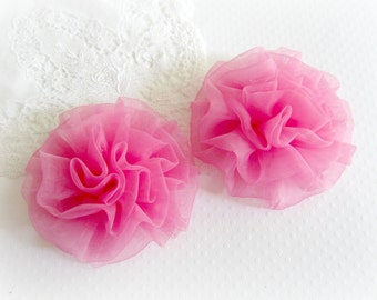 Pink Organza Flowers. 2 Pieces