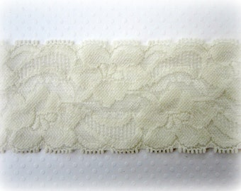 "IVORY Wide Stretch Lace Trim -- 2 "" - 2 Yards"