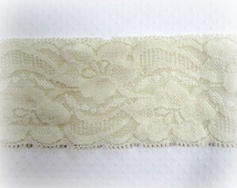 IVORY Stretch Lace Trim. Ivory Lace Elastic. 2 inch . 5 yds