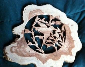 Rough cut Hummingbird plaque