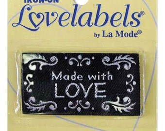 Sewing Labels, Made with Love, black, Non Customizable Craft Labels, Sewing Labels, BL-LL2591