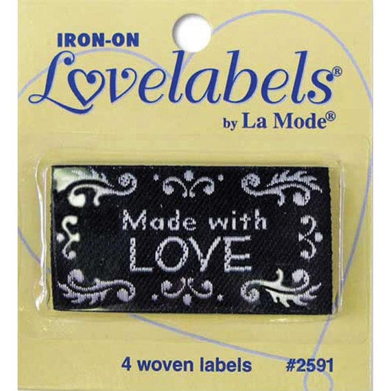 Sewing labels made with love black non customizable for Sew in craft labels