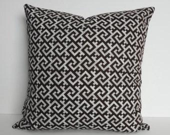 BROWN Greek Key Decorative Pillow Cover, Cushion Cover, 16 x 16, 18 x 18