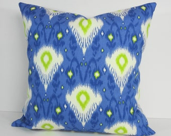 "IKAT Decorative Pillow Cover, Mill Creek Fabrics, Pillow Cushion, Blue, Green, 18"" x 18"", 20"" x 20"""