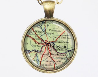 Belgrade Map Necklace -Serbia, Vintage Belgrade, Europe- Vintage Map Series