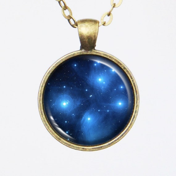 Galaxy Necklace, Star Cluster Pleiades, Seven Sisters, Constellation Pendant ,M45 - Galaxy Series (G002)