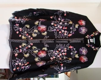 Vintage Profusely embroidered and lined Black Floral jacket ala 1990s  ON SALE