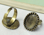 Ring Blanks -5pcs Antique Bronze Brass Adjustable Cabochon Ring Base Setting 13x18mm with 5pcs Clear Glass Cabs J4010