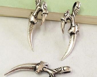 10pcs Antique Silver Alondra Claws Dinosaur Claw Charm Pendants 14x37mm A403-2