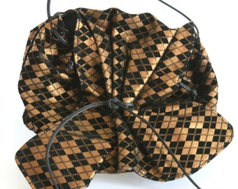 Carlos Falchi Butterfly Hobo Bag - Black and Gold Plaid Purse - Vintage