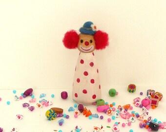 Circus Clown Large Peg Doll - Birthday Decoration - Birthday Ring Decoration - Waldorf Inspired Wooden Handmade Peg Doll