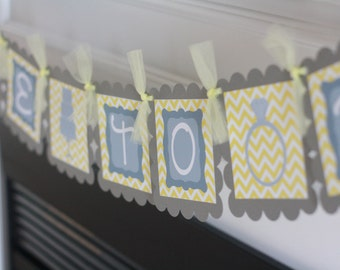 """Yellow Grey or Orange Grey Chevron Cake Ring Bridal Shower Bachelorette """"Bride to Be"""" Banner -  Ask about our Party Pack Special"""