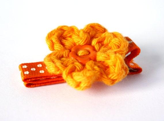 Crochet Flower Hair Clip in Tangerine Orange