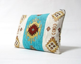 Ethnic Tribal Style Handbag - Makeup Bag - iPad Cover - Large Pouch with Kilim Pattern - Boho clutch - Turqouise , Cream