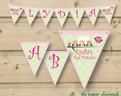 Owl Printable Banner,  Birthday Party Banner, Baby Shower Banner