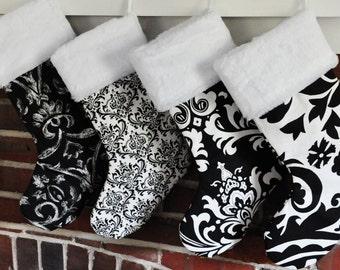 Monochrome Christmas Stocking Black and White Wholesale Personalized Elegant Suzani Ozbrone Madison Damask no.143 no.047 no.109