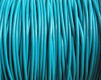 10 Yards 1mm Turquoise Leather Cord Round  - 1.0mm leather cord