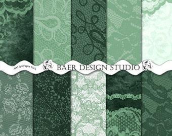 Digital Paper Vintage, Green Digital Paper, Lace Digital Paper, EMERALD GREEN LACE Digital Paper, Digital Background Paper, #14011B