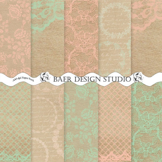 On sale shabby chic peach digital lace paper by for Border lace glam