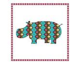 Hippo cross stitch pattern, 4 x PDF cross stitch charts hippos