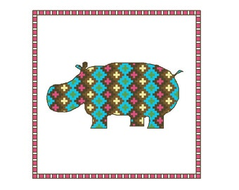 Hippo cross stitch pattern, 4 x PDF cross stitch charts hippos