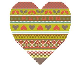 Seasonal Hearts Autumn Heart PDF cross stitch pattern